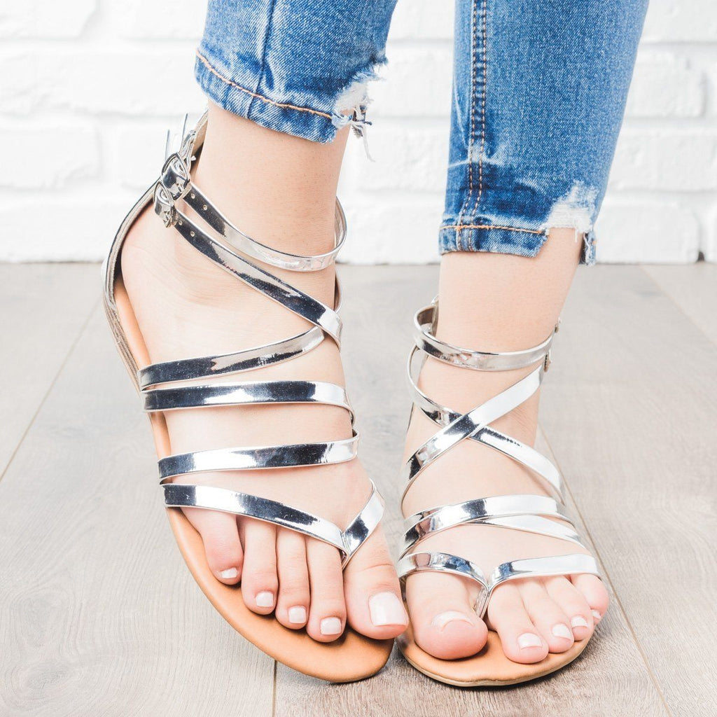 Womens Strappy Crisscross Sandals - Anna Shoes - Silver / 5