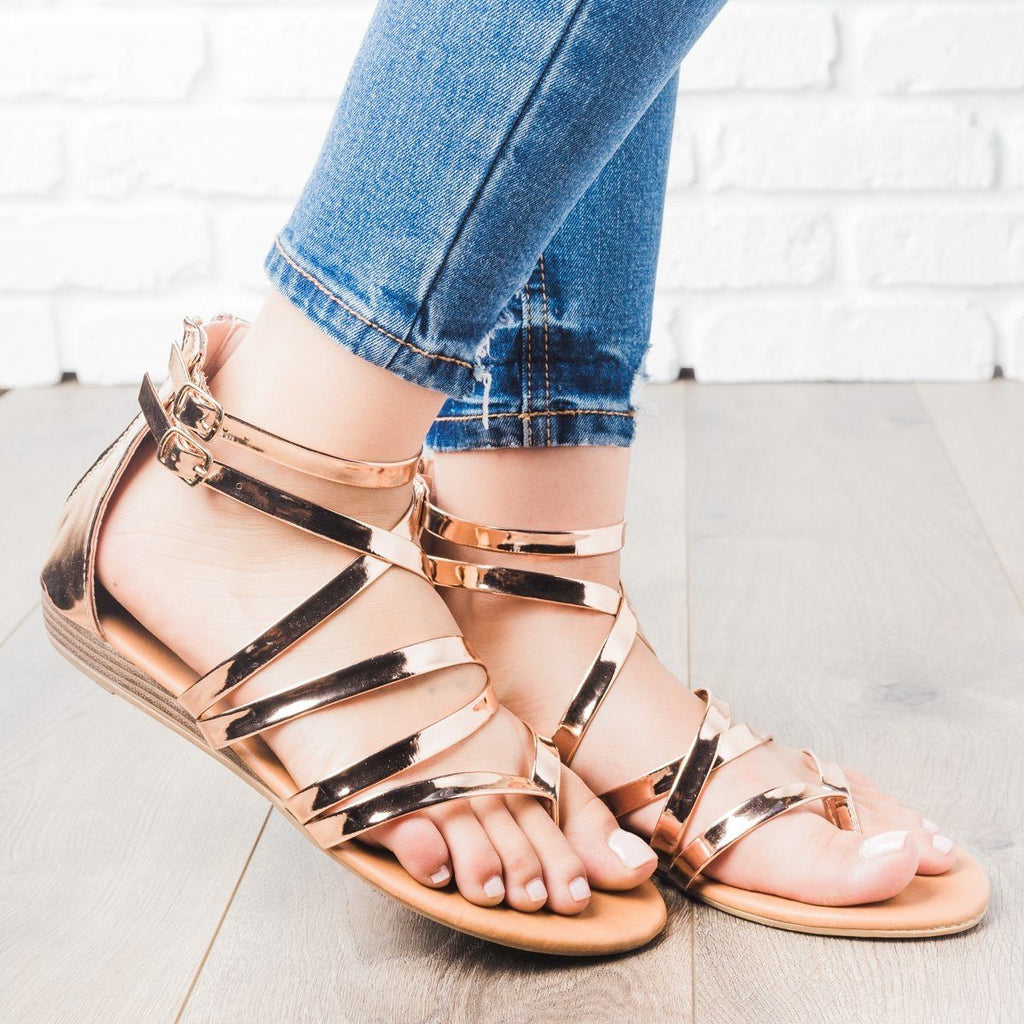 Womens Strappy Crisscross Sandals - Anna Shoes - Rose Gold / 5