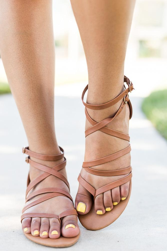 Womens Strappy Crisscross Sandals - Anna Shoes - Tan / 5