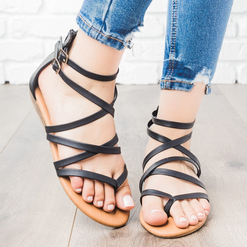 Womens Strappy Crisscross Sandals - Anna Shoes - Black / 5