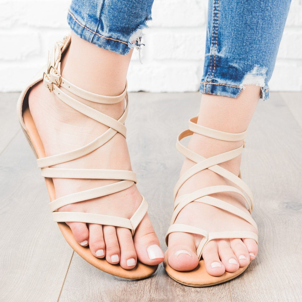 Womens Strappy Crisscross Sandals - Anna Shoes - Beige / 5