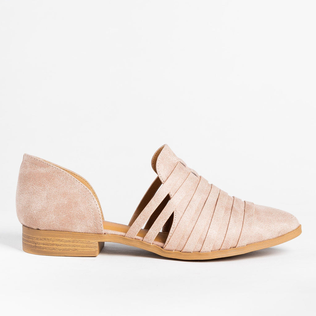 Womens Strappy Cut-Out Flats - Qupid Shoes - Warm Taupe / 5