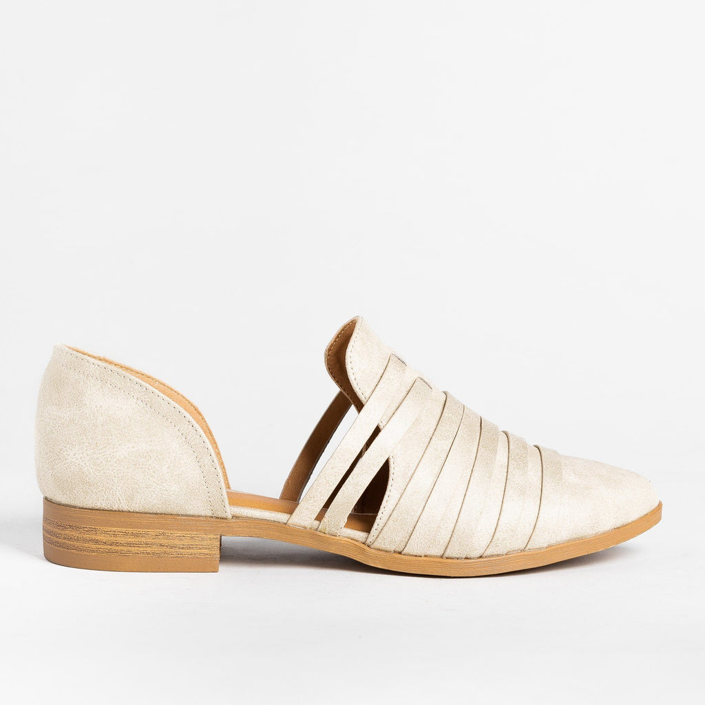 Womens Strappy Cut-Out Flats - Qupid Shoes - Stone / 5