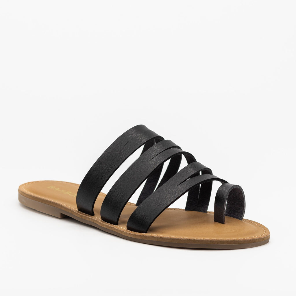Womens Strappy Cutout Toe Hold Sandals - Bamboo Shoes - Black / 5