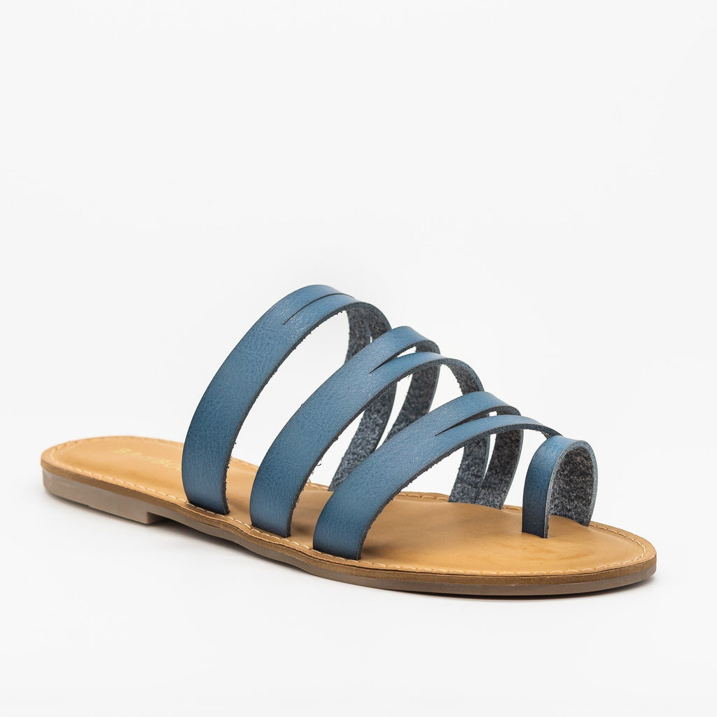 Womens Strappy Cutout Toe Hold Sandals - Bamboo Shoes - Blue / 5