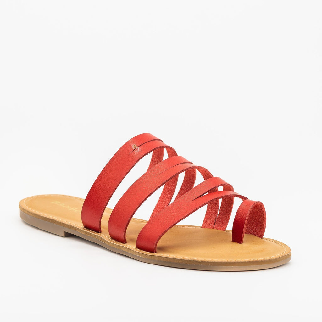 Womens Strappy Cutout Toe Hold Sandals - Bamboo Shoes - Red / 5