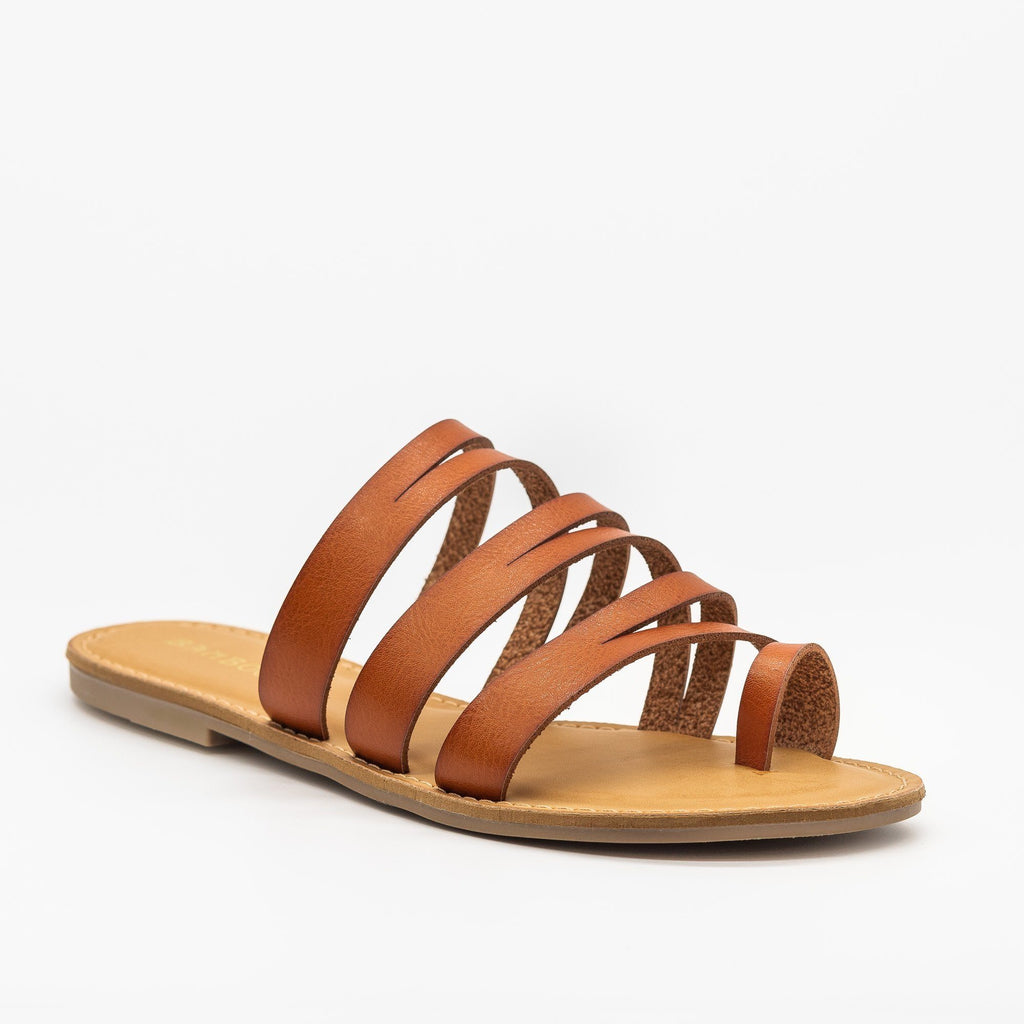 Womens Strappy Cutout Toe Hold Sandals - Bamboo Shoes - Tan / 5