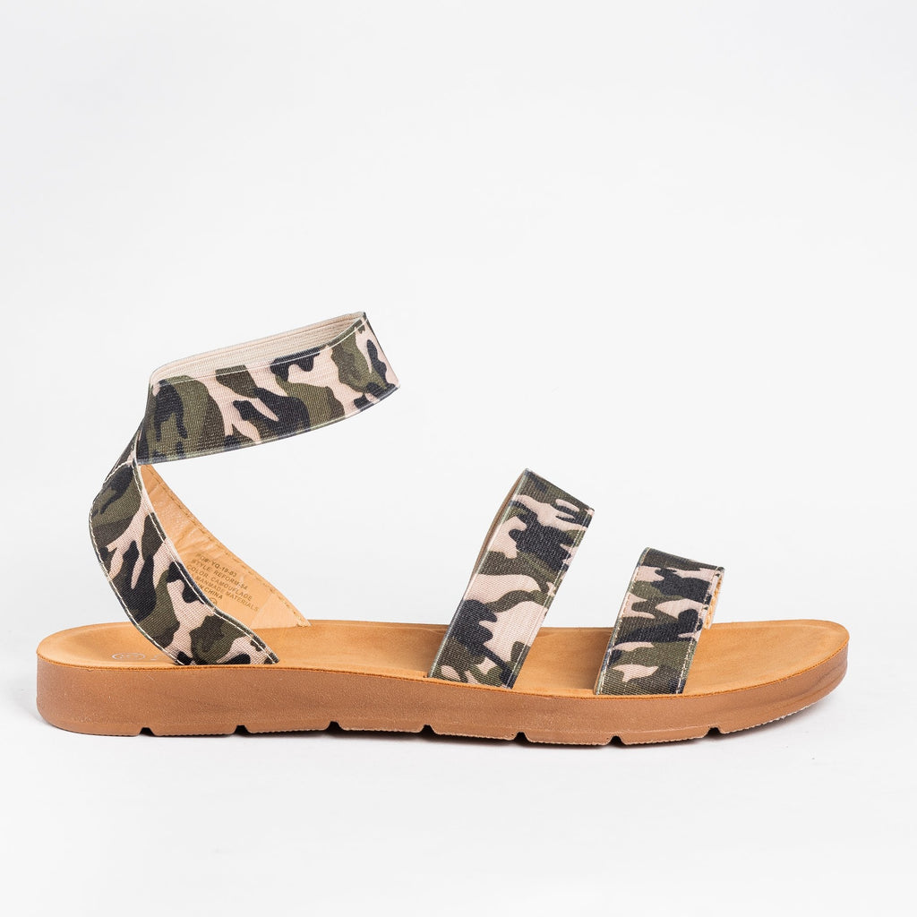Womens Strappy Elastic Sandals - Forever - Camouflage / 5