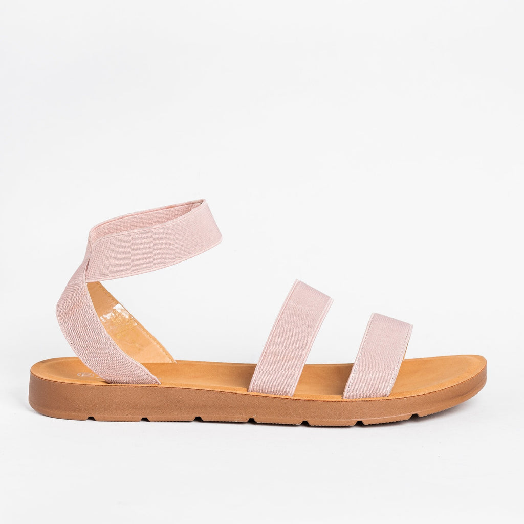 Womens Strappy Elastic Sandals - Forever - Pink / 5