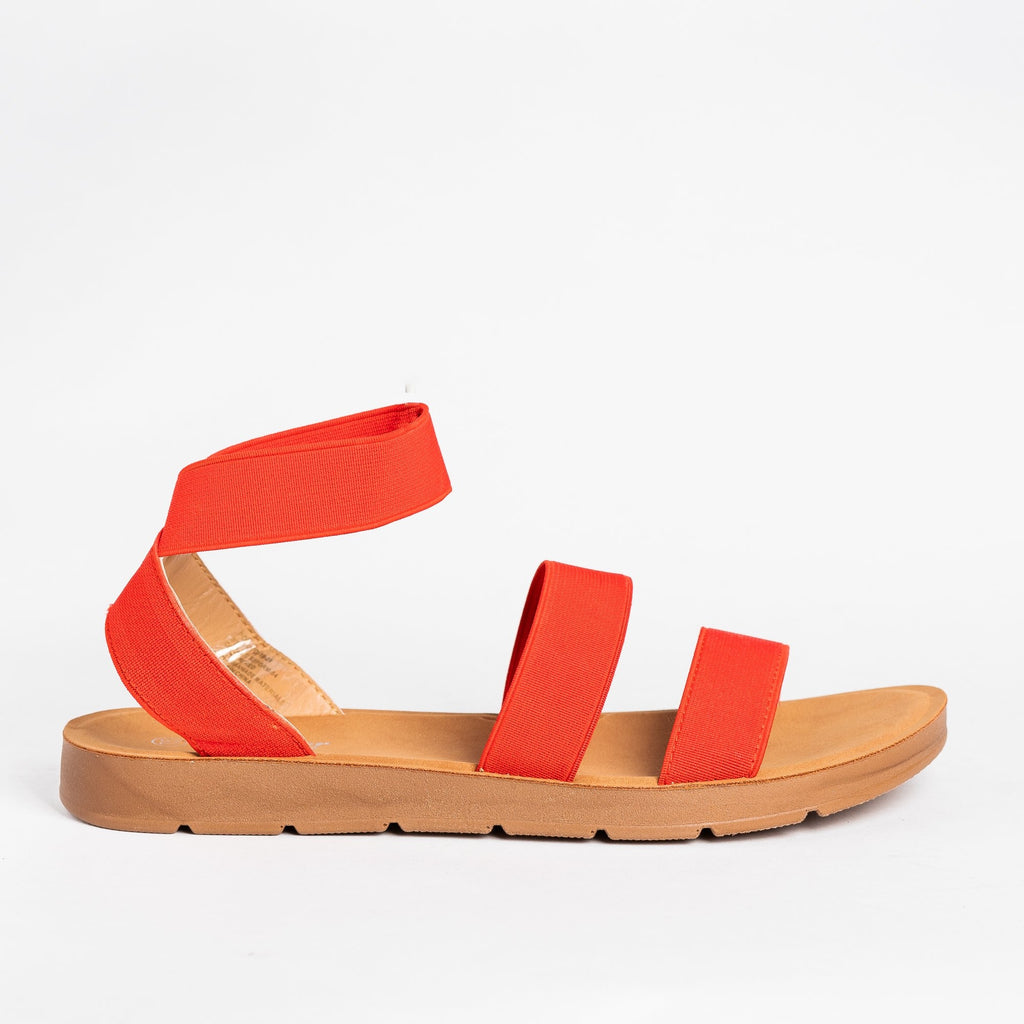 Womens Strappy Elastic Sandals - Forever - Red / 5