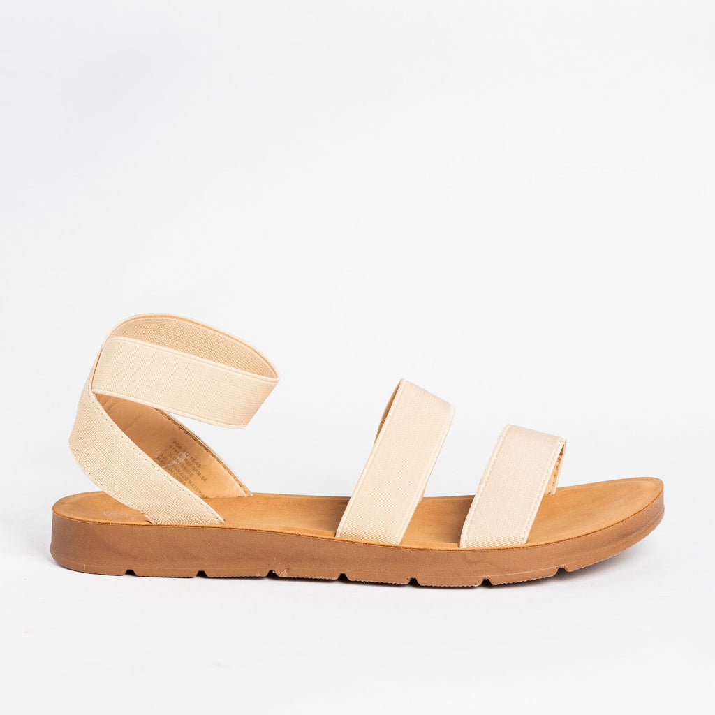 Womens Strappy Elastic Sandals - Forever - Beige / 5