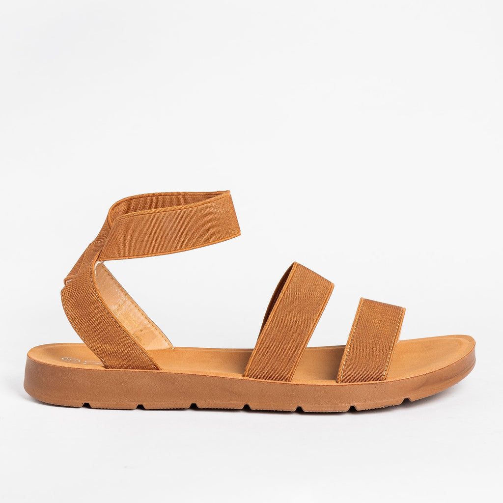 Womens Strappy Elastic Sandals - Forever - Tan / 5
