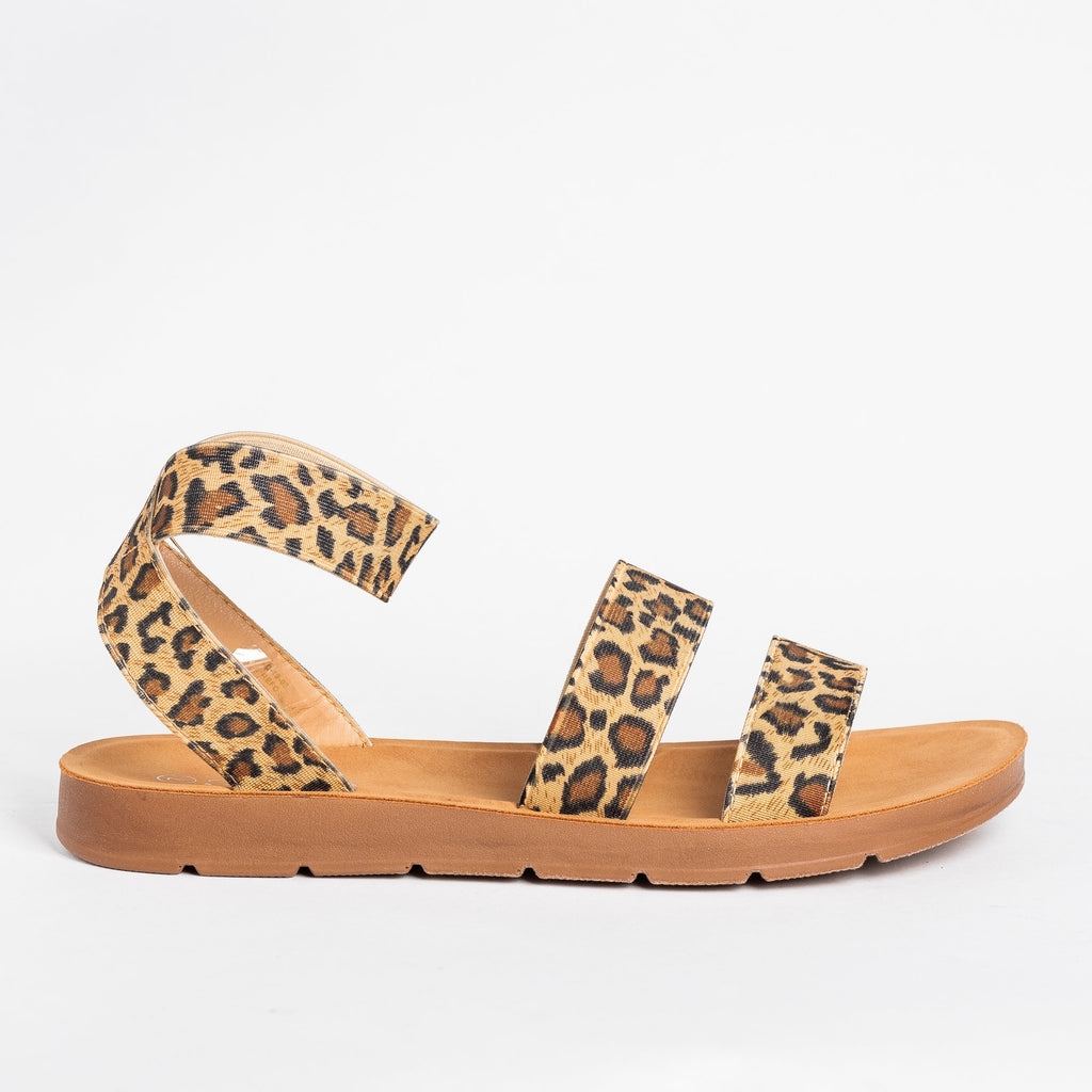 Womens Strappy Elastic Sandals - Forever - Leopard / 5