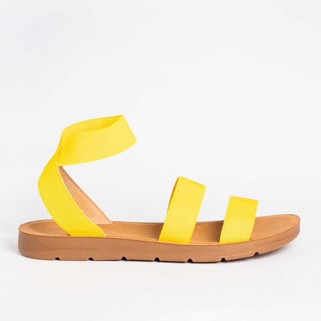 Womens Strappy Elastic Sandals - Forever - Yellow / 5