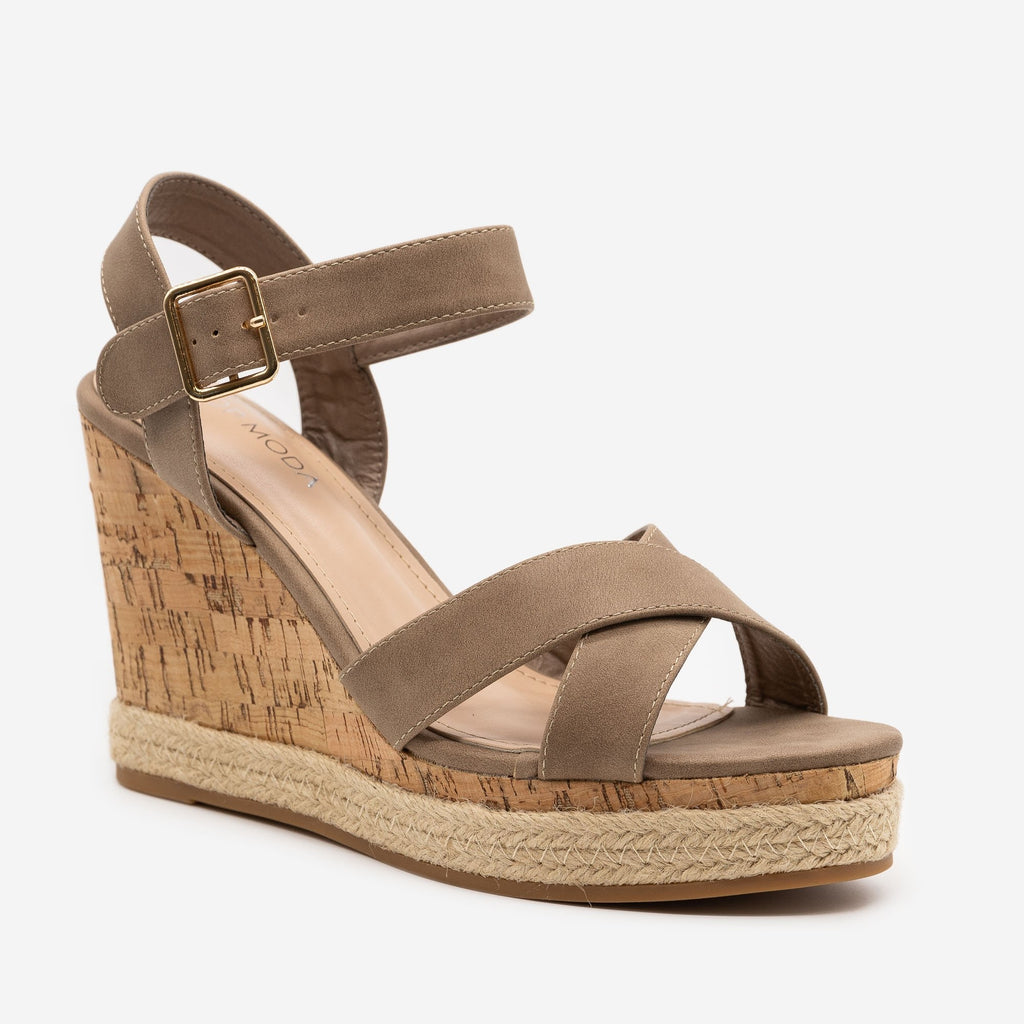 Women's Strappy Espadrille Cork Wedges - Top Moda - Khaki / 5