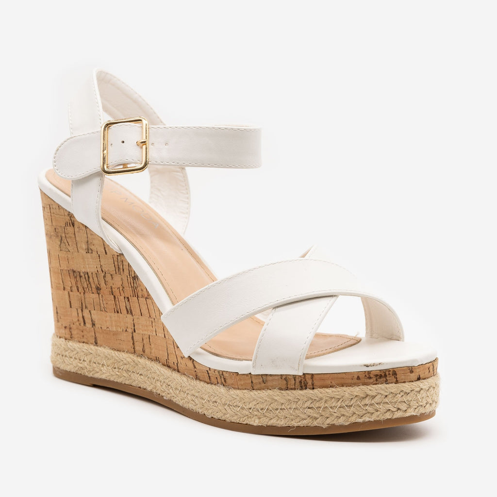 Women's Strappy Espadrille Cork Wedges - Top Moda - White / 5