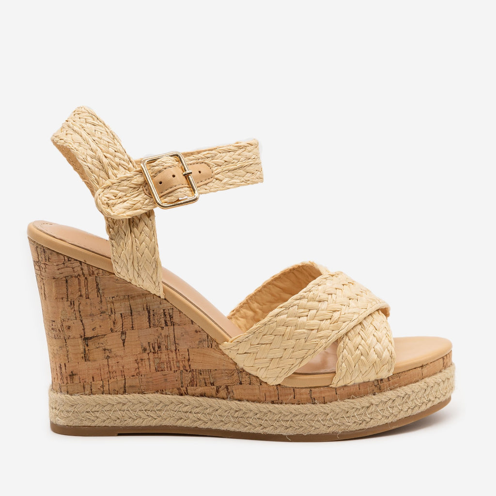Women's Strappy Espadrille Cork Wedges - Top Moda