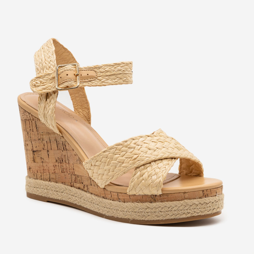 Women's Strappy Espadrille Cork Wedges - Top Moda - Beige Raffia / 5