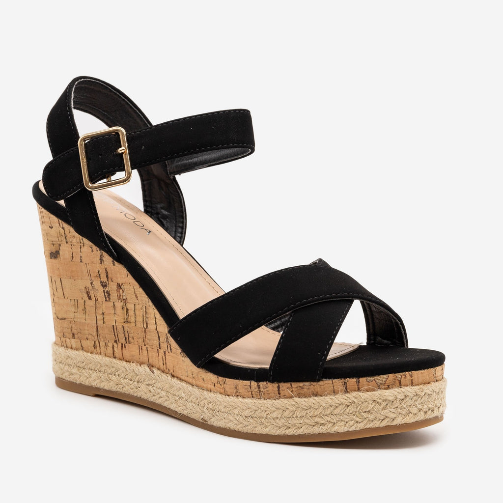 Women's Strappy Espadrille Cork Wedges - Top Moda - Black / 5