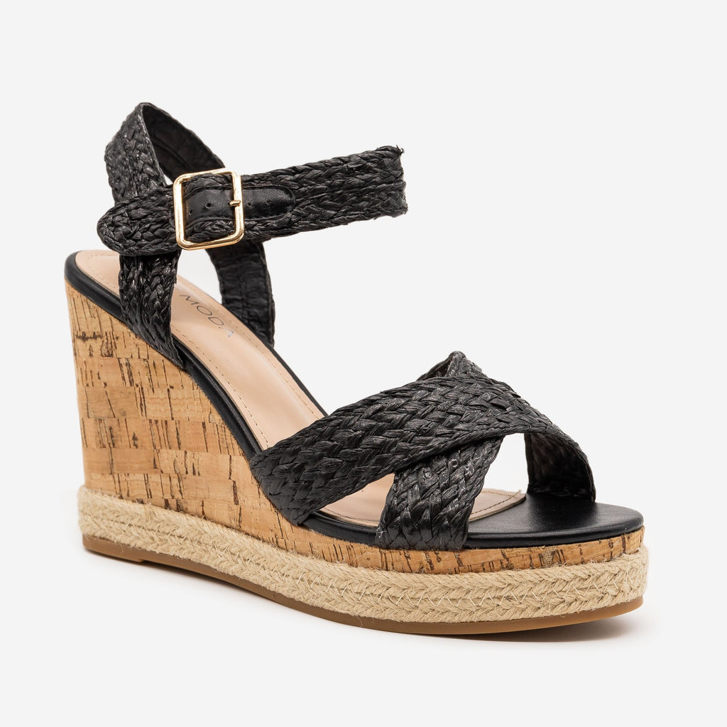 Women's Strappy Espadrille Cork Wedges - Top Moda - Black Raffia / 5