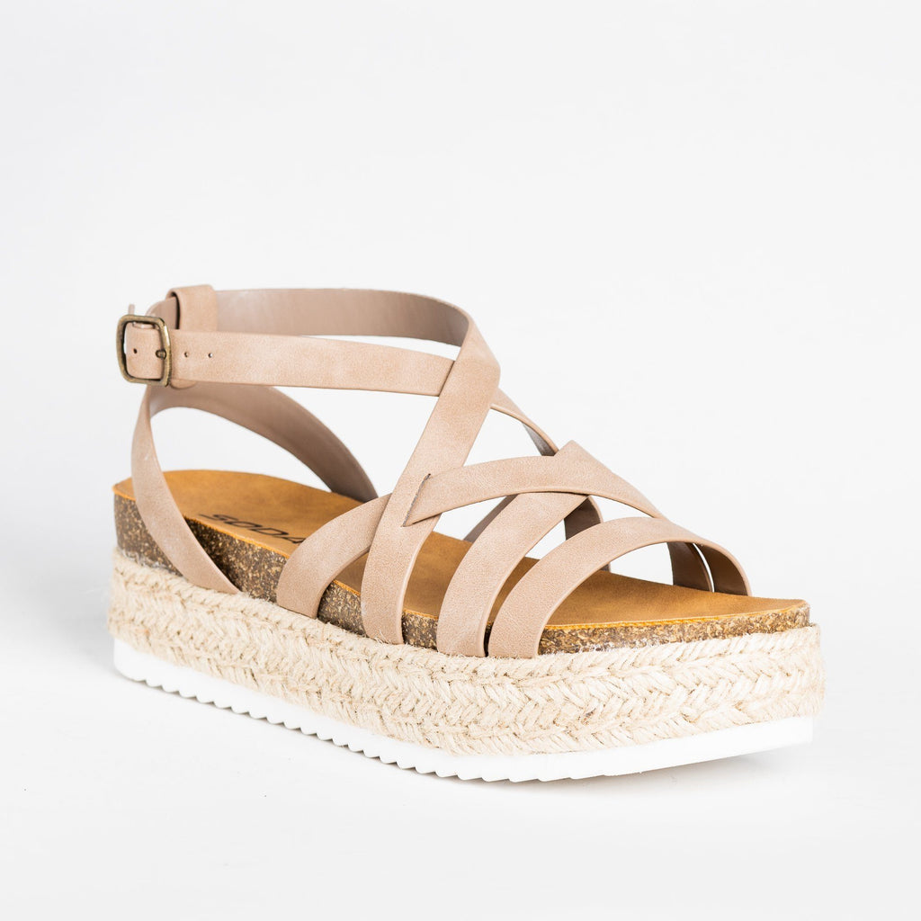 Womens Strappy Espadrille Flatform Sandal Wedges - Soda Shoes - Dark Natural / 5
