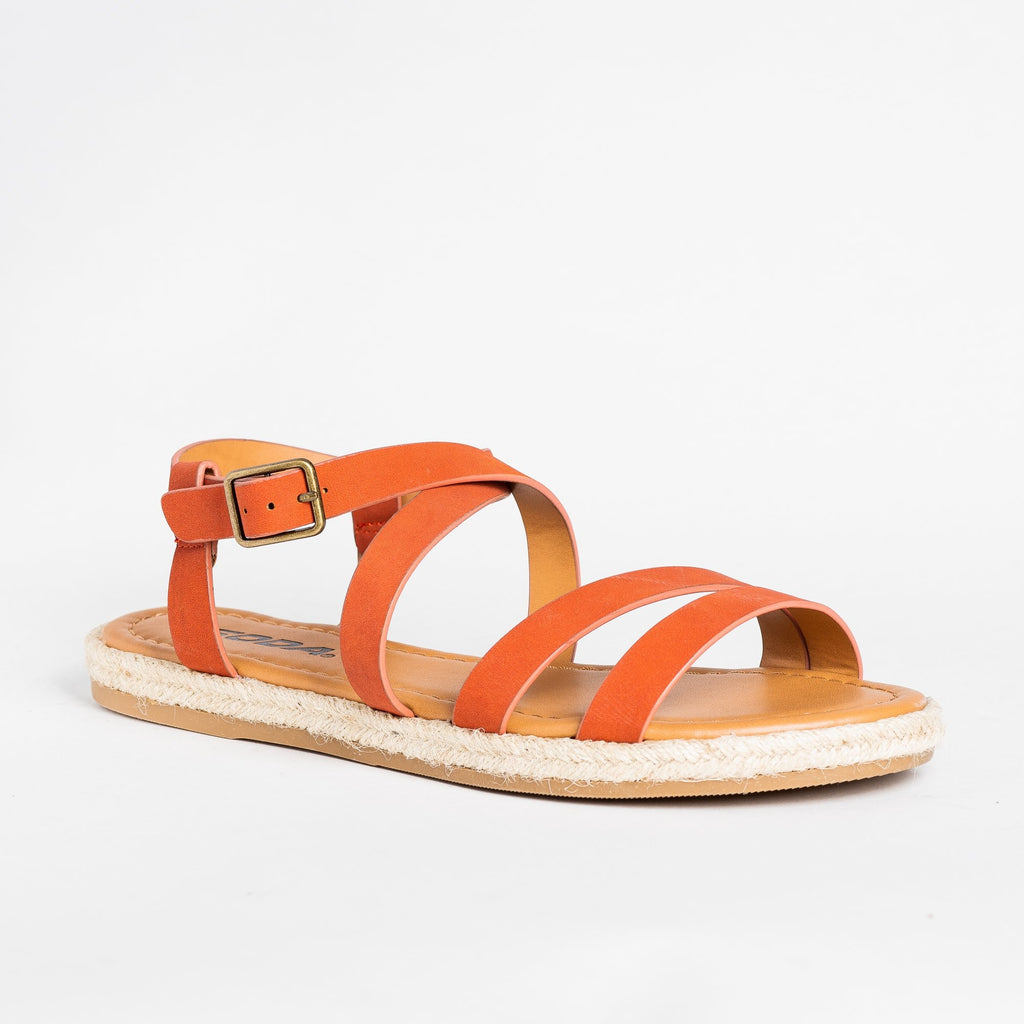Womens Strappy Espadrille Sandals - Soda Shoes - Blood Orange / 5