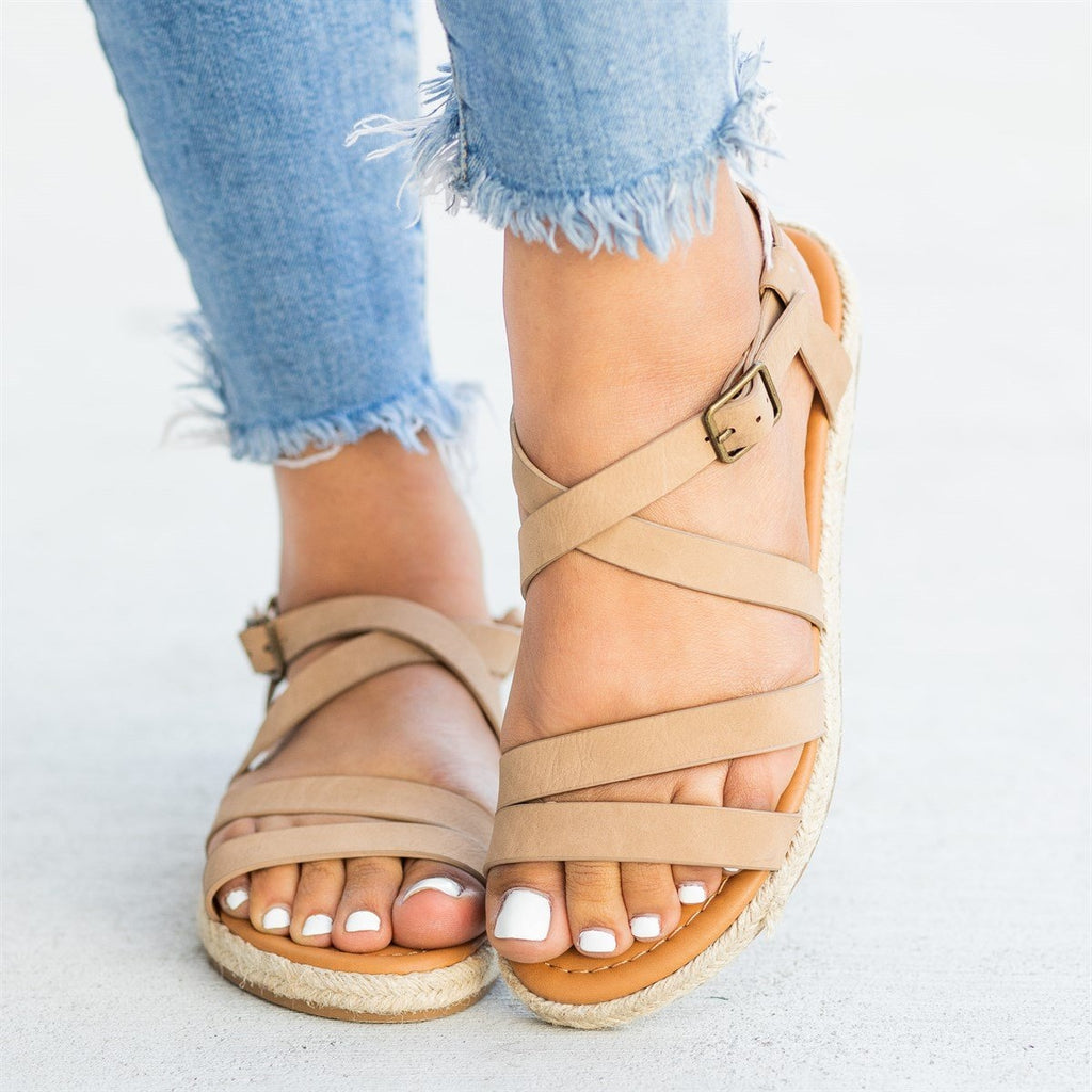 Womens Strappy Espadrille Sandals - Soda Shoes
