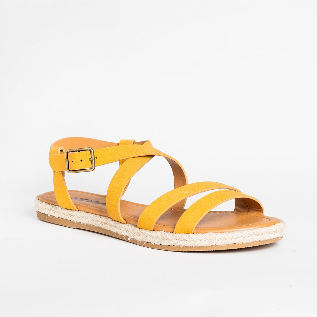 Womens Strappy Espadrille Sandals - Soda Shoes - Mustard / 5