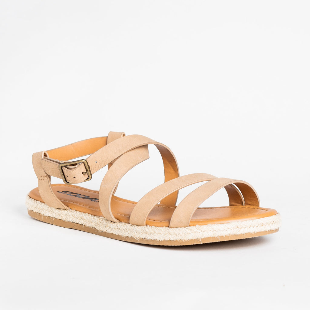 Womens Strappy Espadrille Sandals - Soda Shoes - Camel / 5