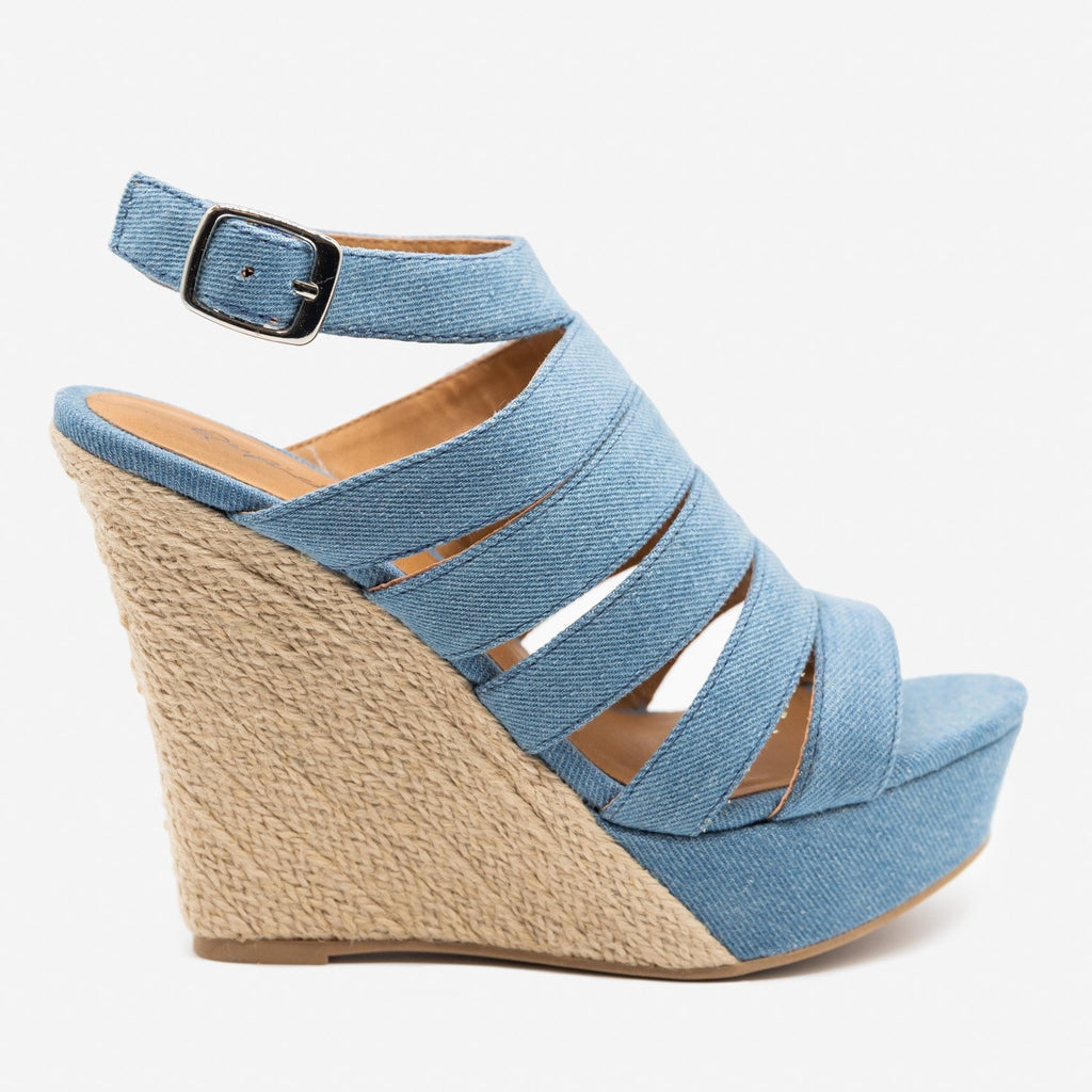 Women's Strappy Espadrille Werdges - Qupid Shoes - Light Blue Denim / 5