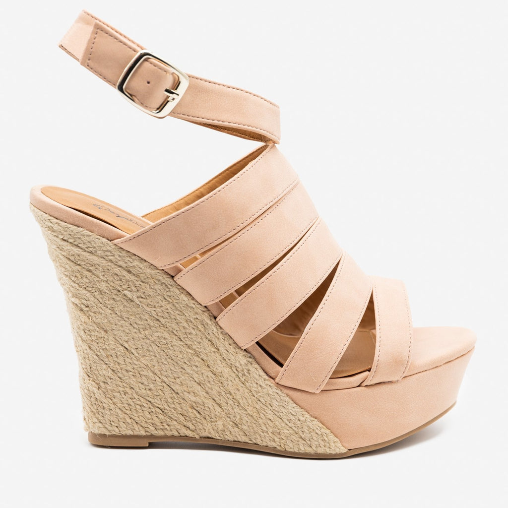 Women's Strappy Espadrille Werdges - Qupid Shoes - Blush / 5