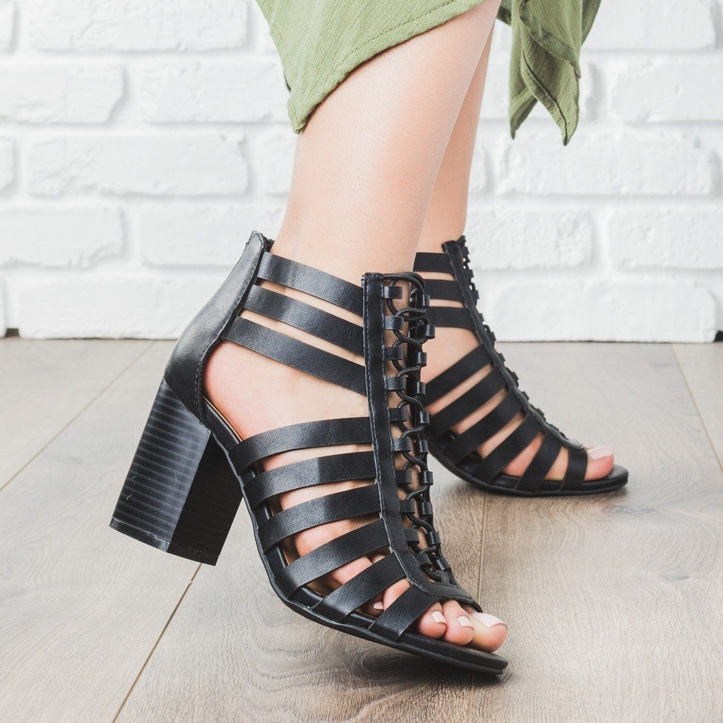 Womens Strappy Gladiator Heels - Bamboo Shoes