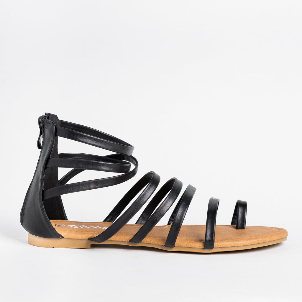 Womens Strappy Gladiator Sandal - Weeboo - Black / 5