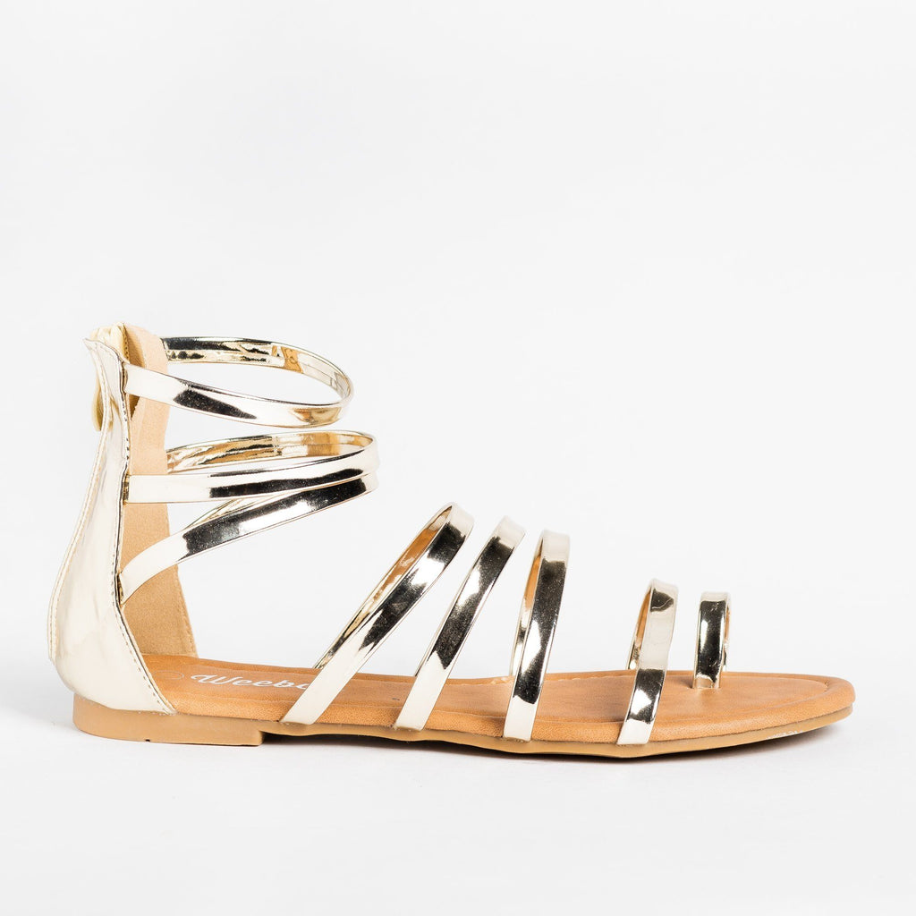 Womens Strappy Gladiator Sandal - Weeboo - Gold / 5