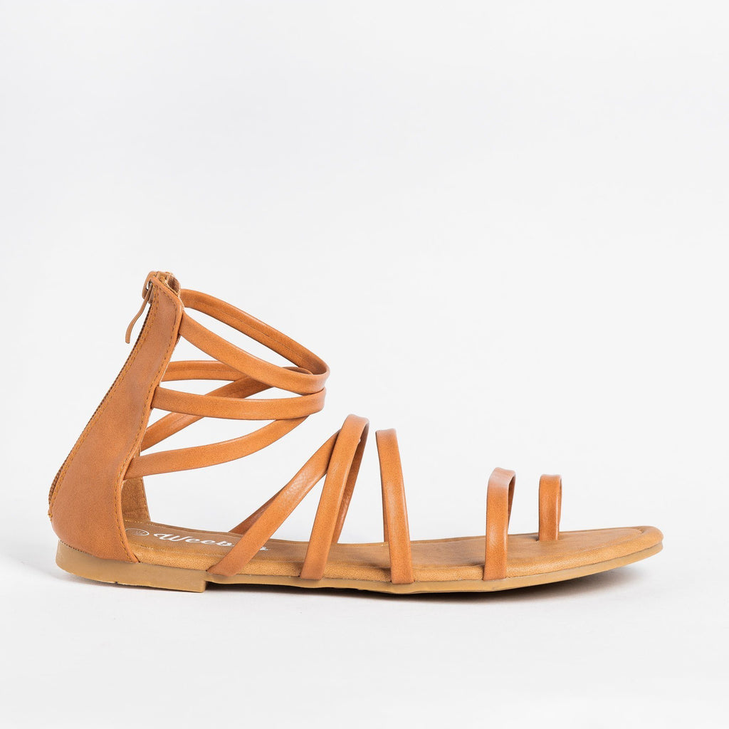 Womens Strappy Gladiator Sandal - Weeboo - Tan / 5