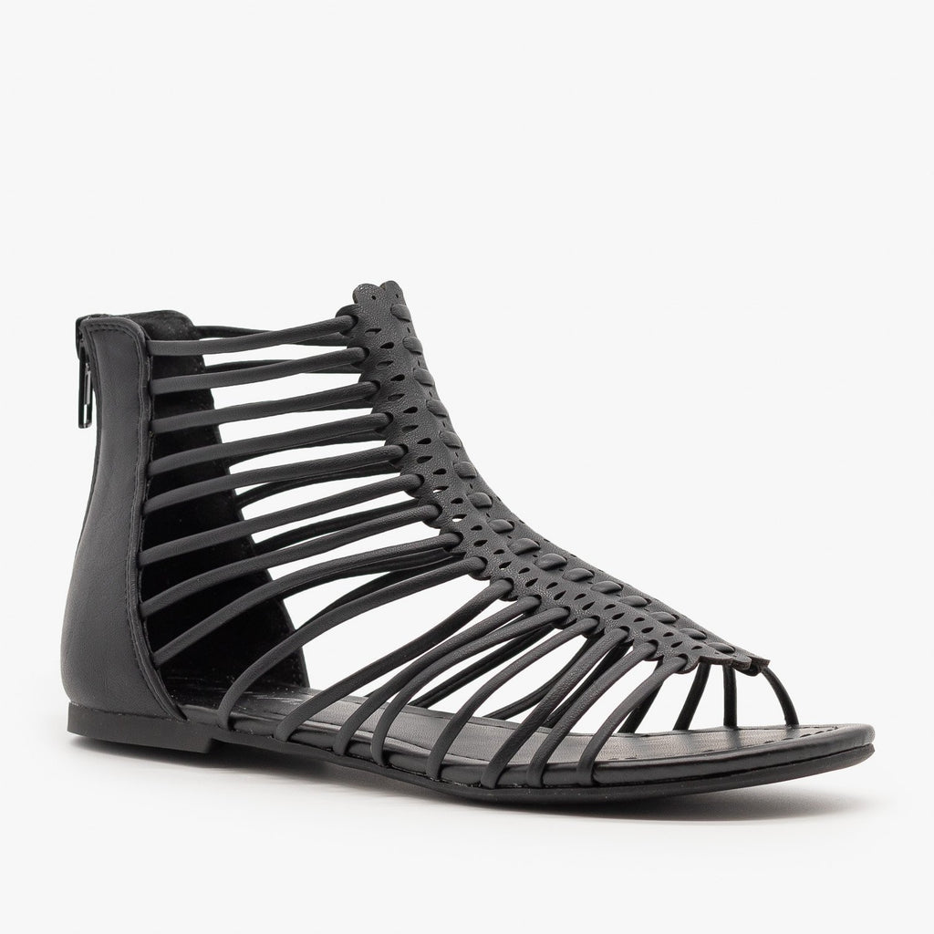 Womens Strappy Gladiator Sandals - Soda Shoes - Black / 5