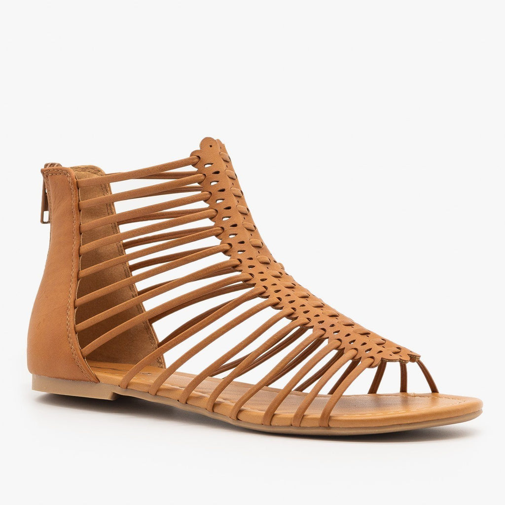 Womens Strappy Gladiator Sandals - Soda Shoes - Tan / 5