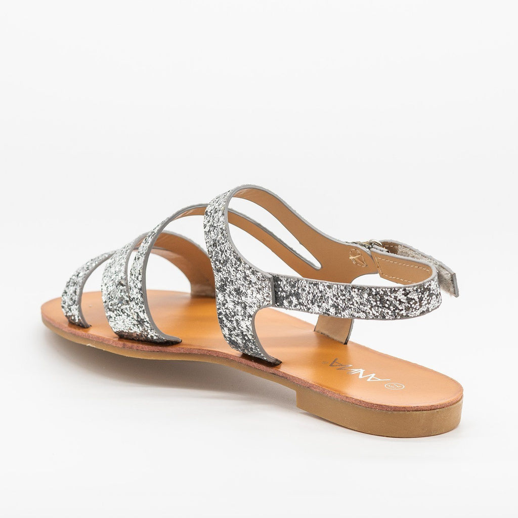 Womens Strappy Glitter Sandals - Anna Shoes