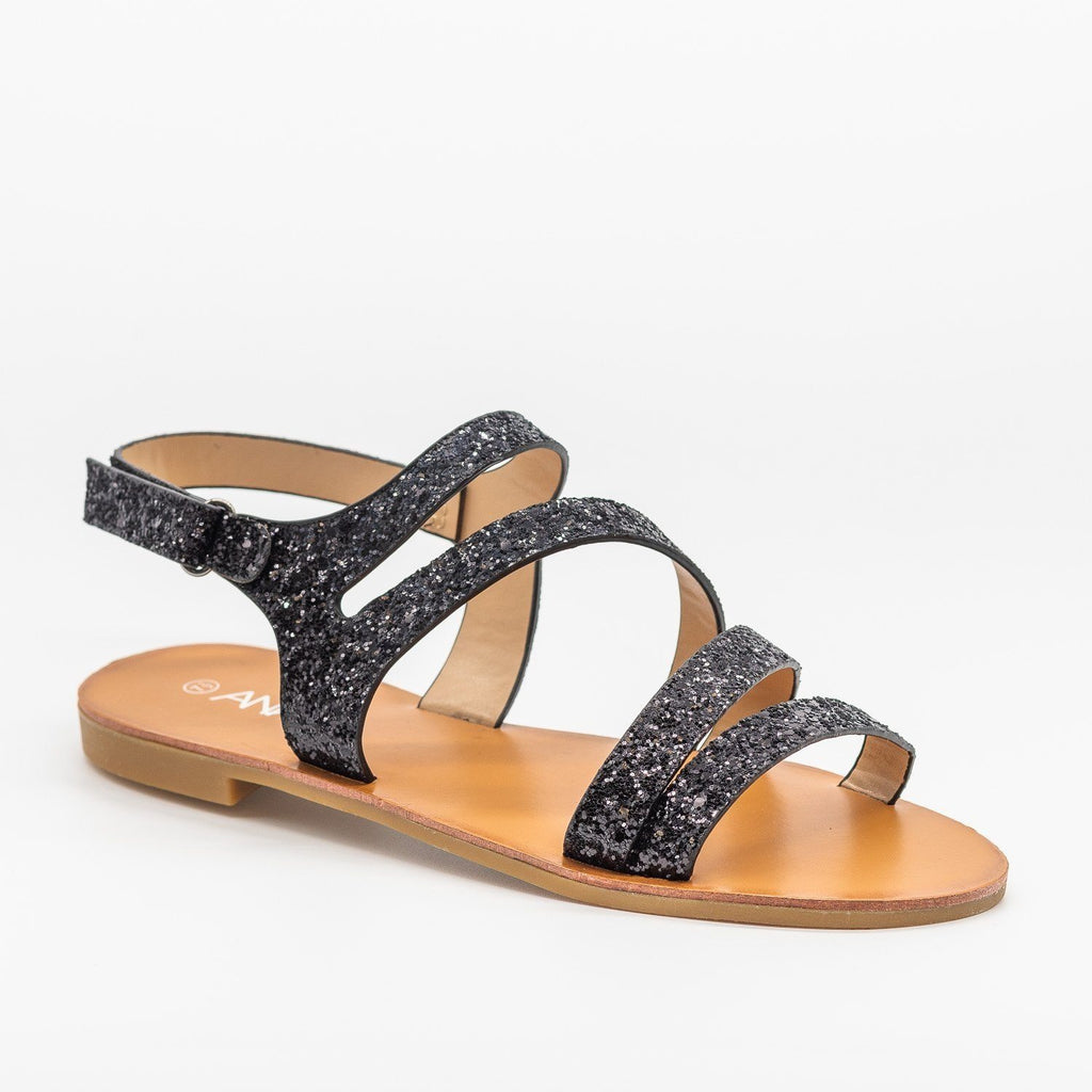 Womens Strappy Glitter Sandals - Anna Shoes - Black / 5