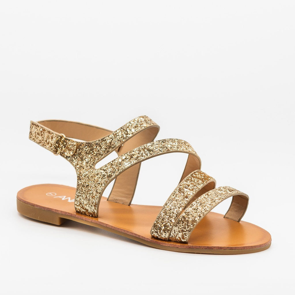Womens Strappy Glitter Sandals - Anna Shoes - Gold / 5
