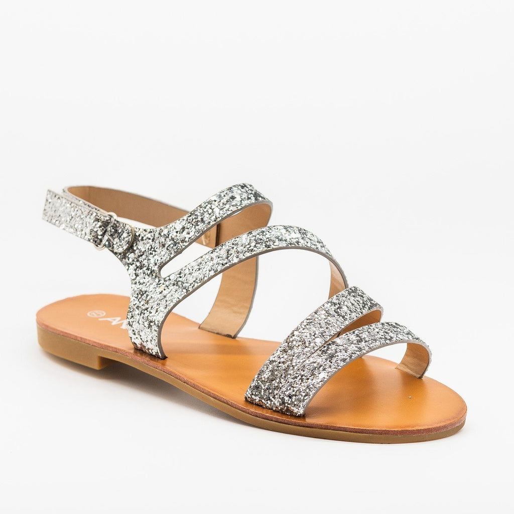 Womens Strappy Glitter Sandals - Anna Shoes - Silver / 5