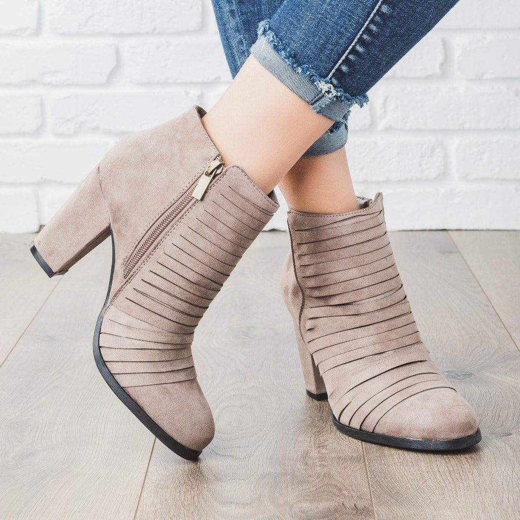 Womens Strappy Heel Ankle Booties - Bamboo Shoes