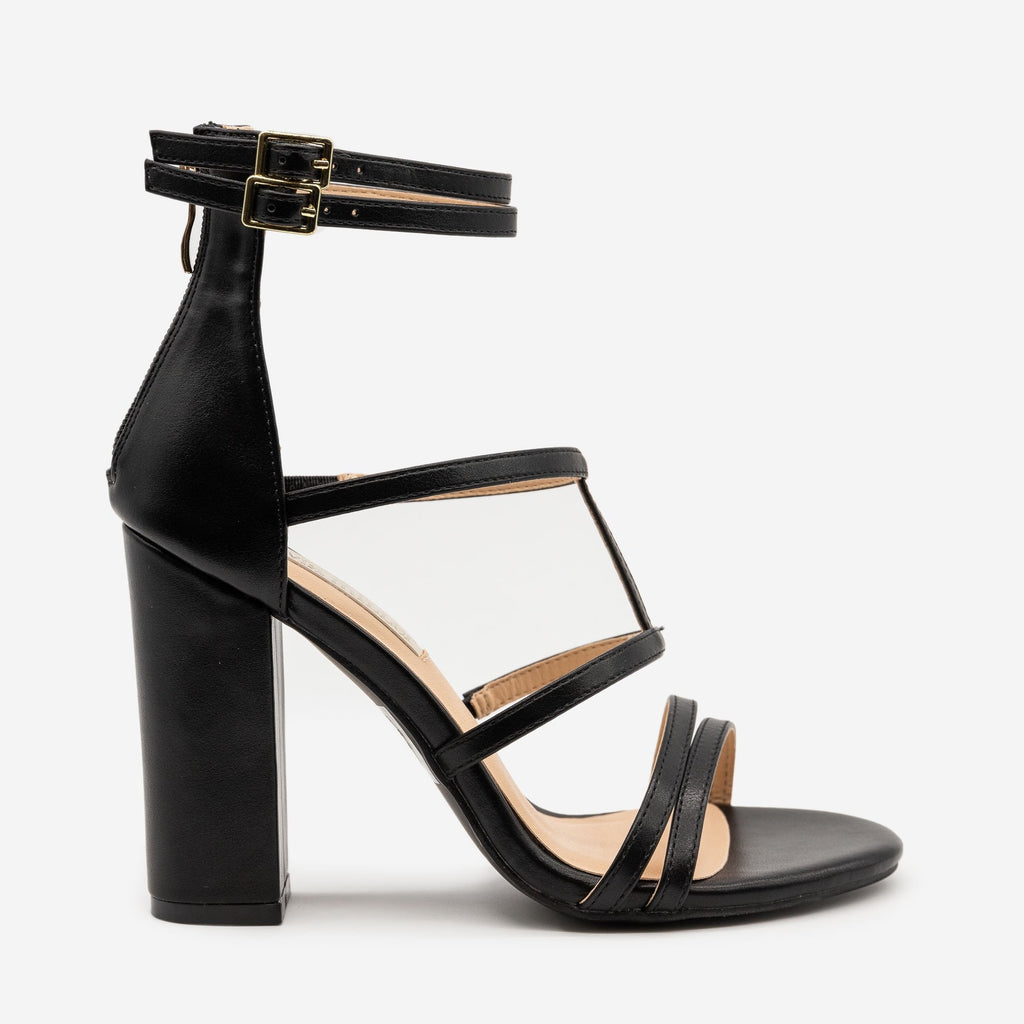 Women's Strappy High Heel Sandals - Olivia Miller - Black / 5