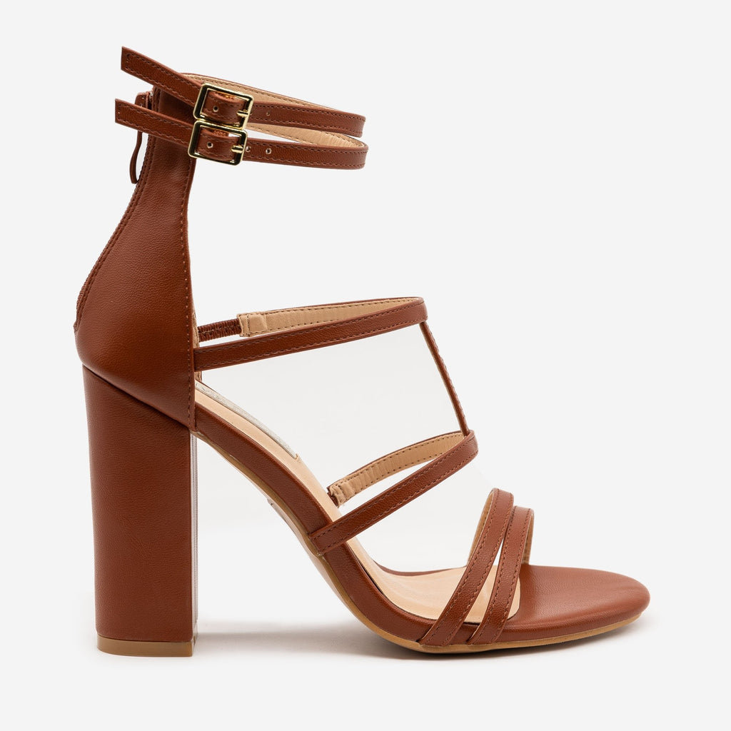 Women's Strappy High Heel Sandals - Olivia Miller - Brown / 5