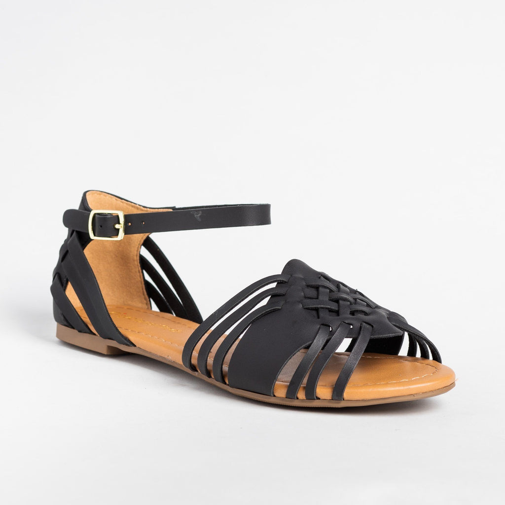 Womens Strappy Huarache Flats - City Classified Shoes - Black / 5