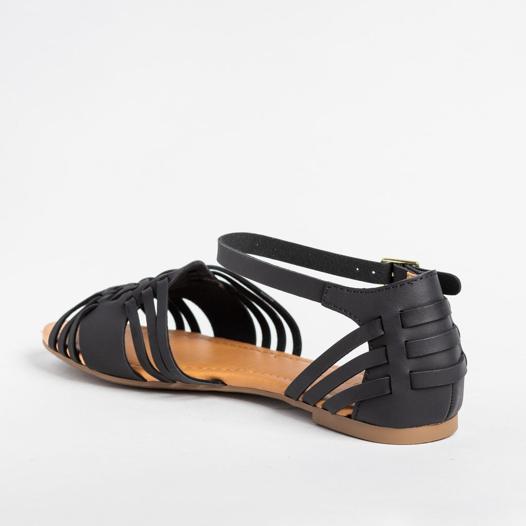 Womens Strappy Huarache Flats - City Classified Shoes