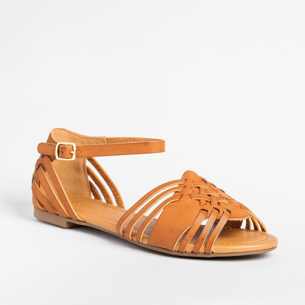 Womens Strappy Huarache Flats - City Classified Shoes - Tan / 5