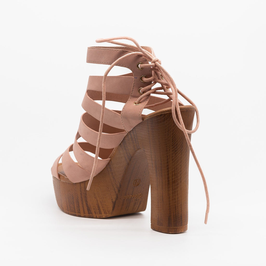 Womens Strappy Lace Up Clog Heel - Weeboo