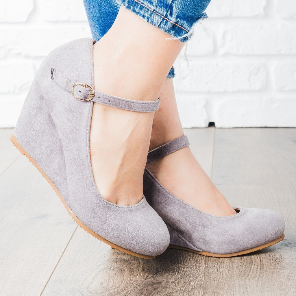 Womens Strappy Mary Jane Wedges - Bella Marie - Gray / 6