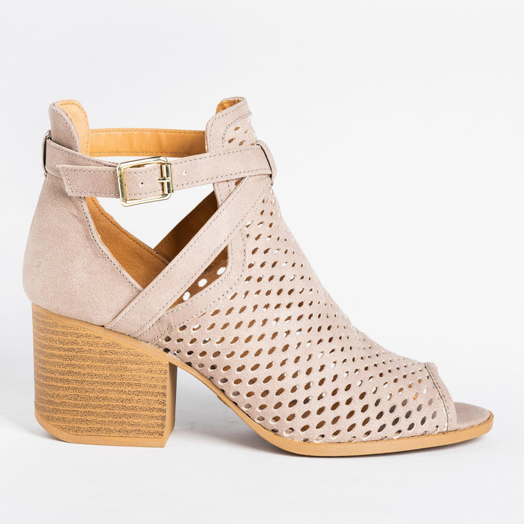 Womens Strappy Mesh Open Toe Booties - Qupid Shoes - Taupe / 5